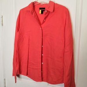 J.Crew Perfect Button-Front Orange Shirt Size 6